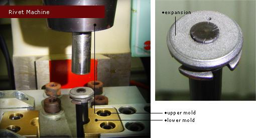 氮氣缸活塞桿進行鉚合及組裝